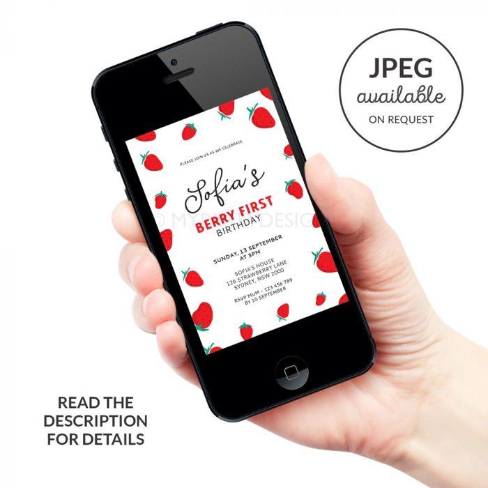 digital strawberry birthday invitation template