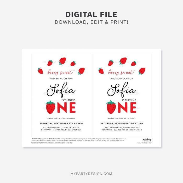 printable strawberry first birthday invitation