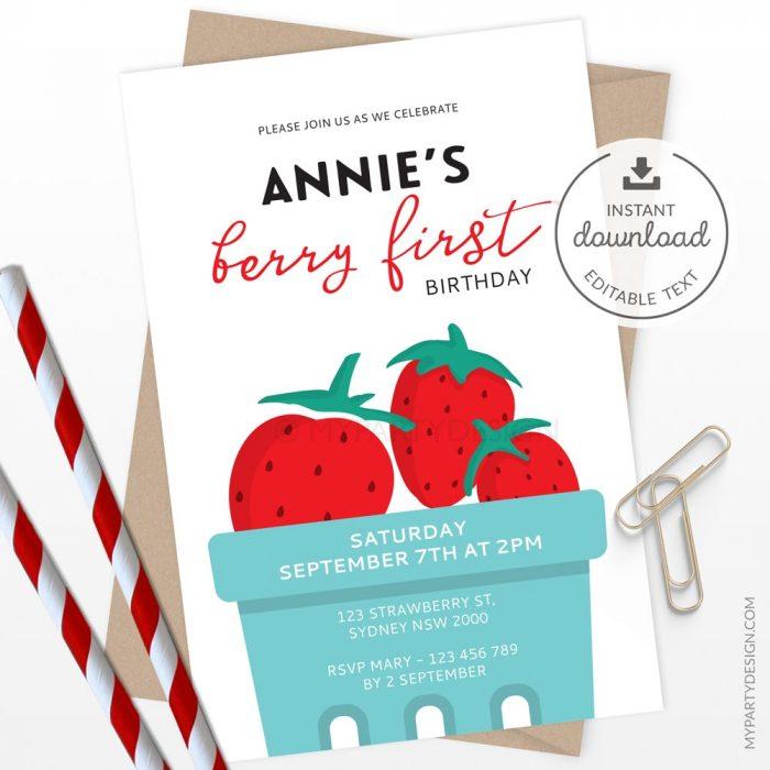 berry first birthday invitation