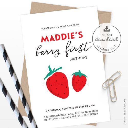 modern strawberry birthday invitation