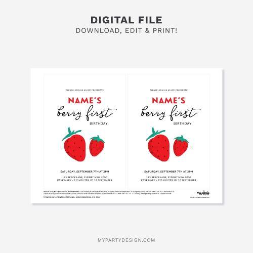 printable modern strawberry birthday invitation