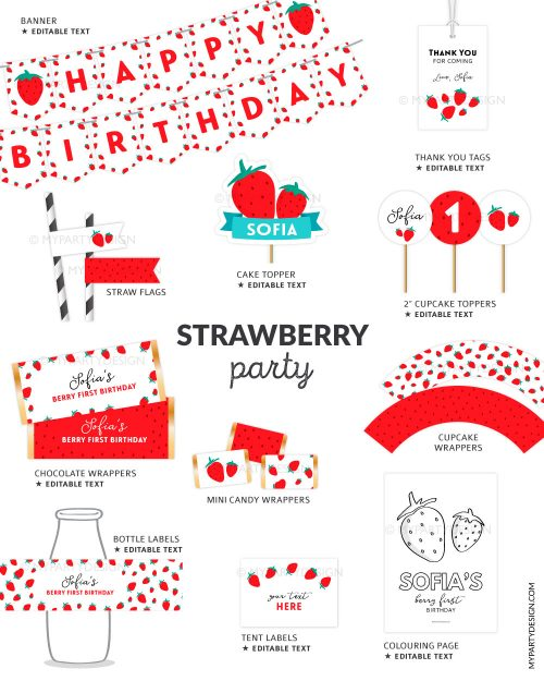 berry first birthday party printables