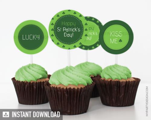 printable st patricks day cupcake toppers
