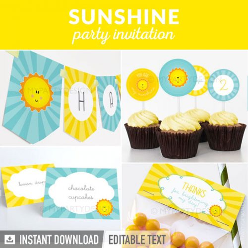you are my sunshine party decoration printables