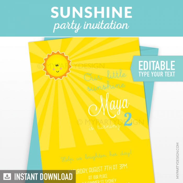 you are my sunshine birthday invitation printable in yellow