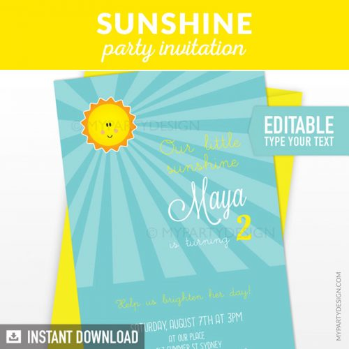 you are my sunshine birthday invitation printable in turquoise