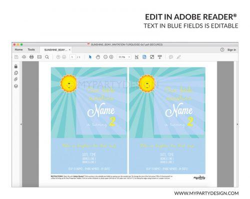 you are my sunshine party invitation - editable printable invite