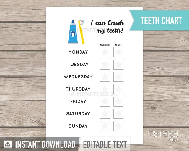 printable teeth brushing reward chart for toddlers