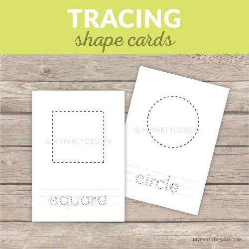 printable shape tracing cards