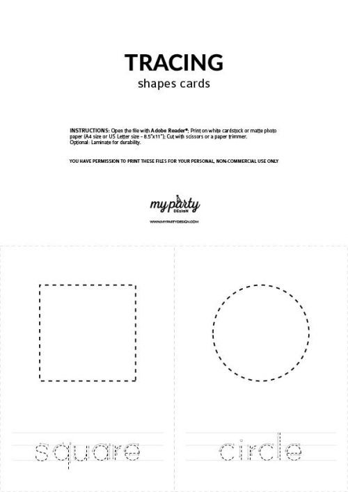 printable shape tracing cards