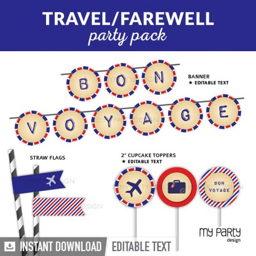 farewell travel party decoration printables