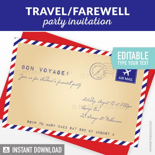 travel or farewell party invitation printable and editable