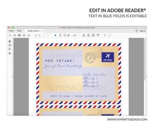 travel party invitation - editable printable invite