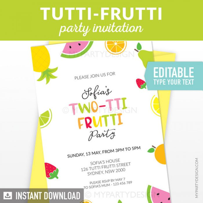 tutti-frutti birthday invitation printable