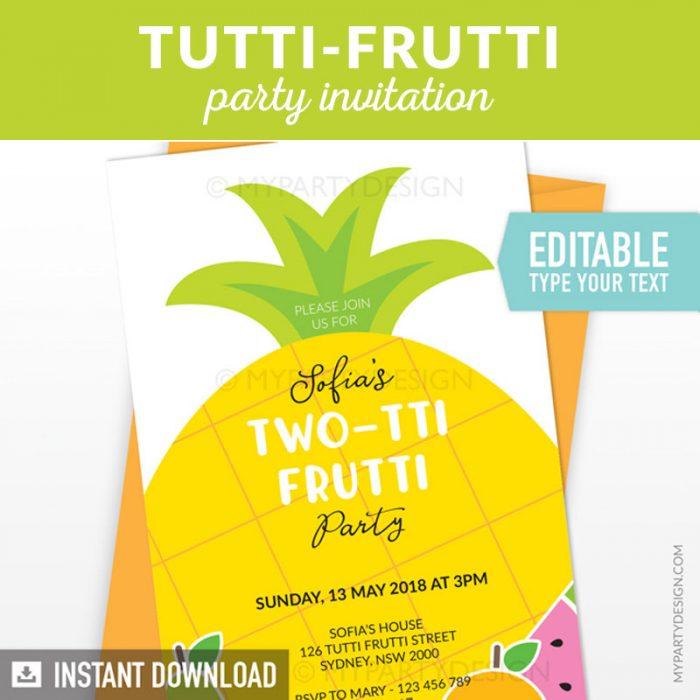 fruit birthday invitation printable