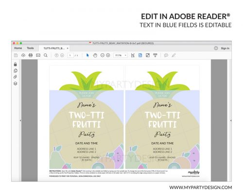 tutti frutti party invitation - editable printable invite
