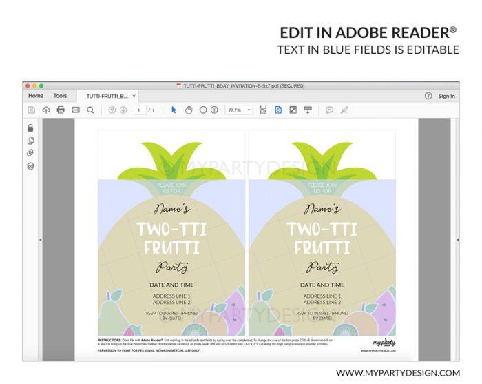 tutti frutti party invitation - editable printable invite