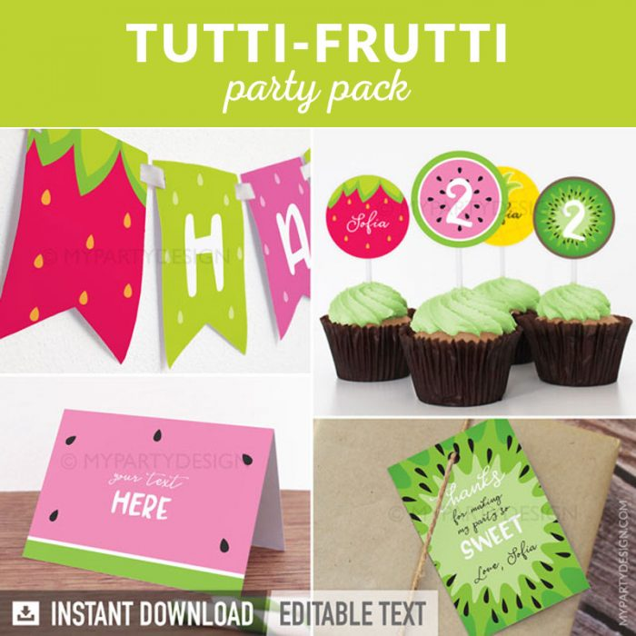 tutti-frutti party decoration printables