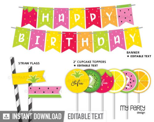 tutti frutti party printable decorations