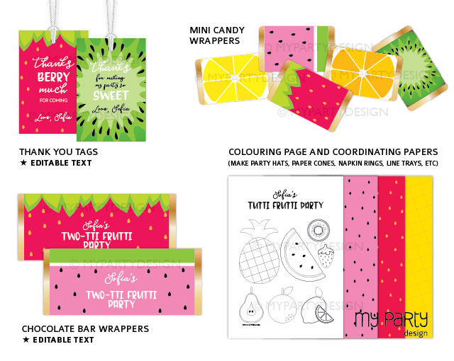 tutti frutti party printable decorations