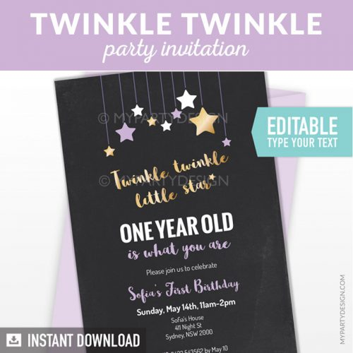 Twinkle Twinkle Twinkle little star Birthday Invitation for girls