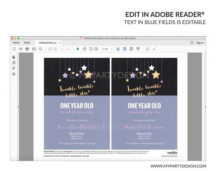 twinkle twinkle little star party invitation - editable printable invite