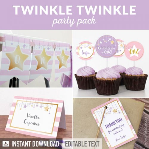 twinkle twinkle little star party decoration printables