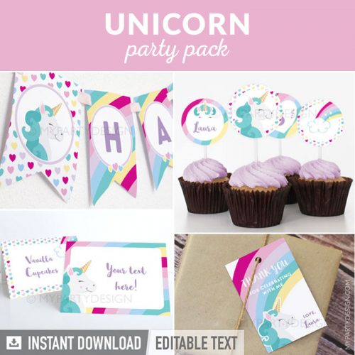 rainbows and unicorns party decoration printables