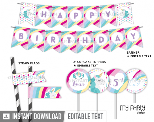 Unicorn party printable decorations