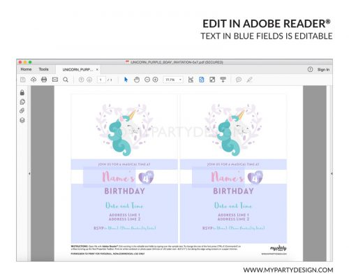 unicorn party invitation - editable printable invite