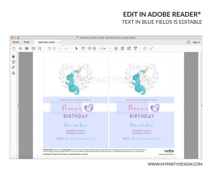 unicorn party invitation - editable printable invite