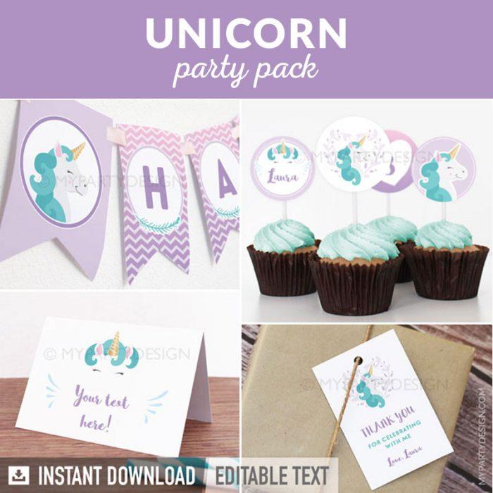 unicorn party decoration printables
