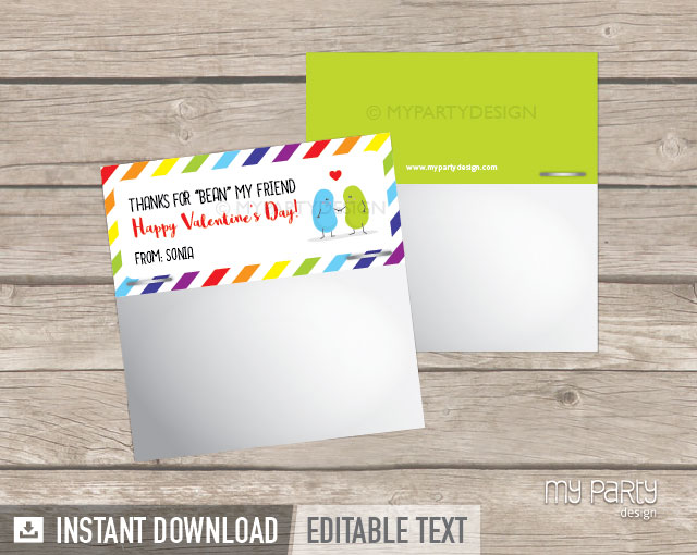printable valentines day cards jelly beans theme