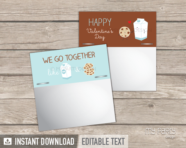 printable valentines day cookies and milk bag topper labels