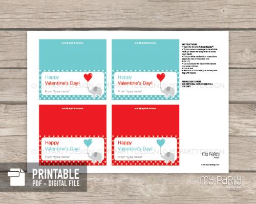 printable valentines day elephant bag topper labels
