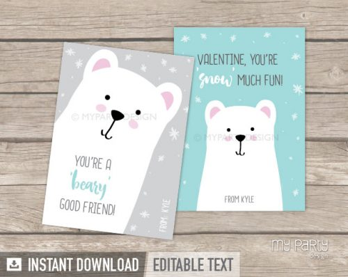 printable valentines day cards bear theme