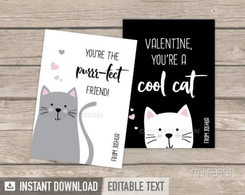 printable valentines day cards cat theme