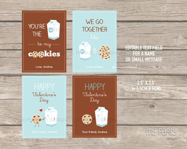 printable valentines day cookies and milk cards
