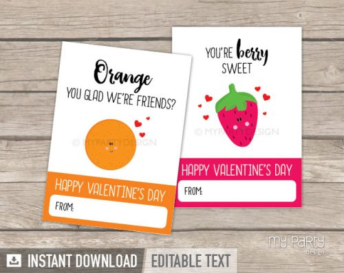 printable valentines day cards fruit theme lunchbox notes