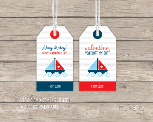 printable boat valentines gift tag