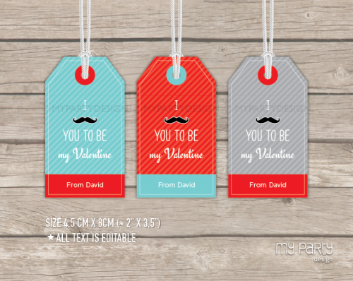 printable mustache valentines gift tag