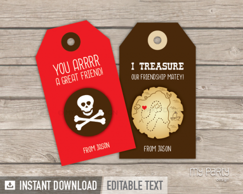 printable pirate valentines gift tag