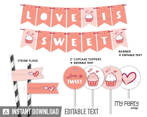 valentine's day party decoration printables, love is sweet party