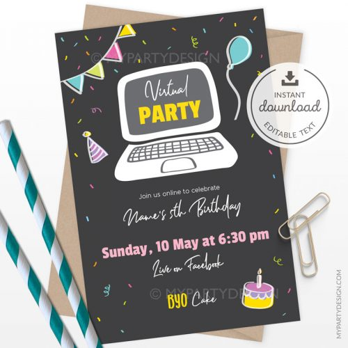 Virtual Party Invitation, Printable Instant Download with Editable Text