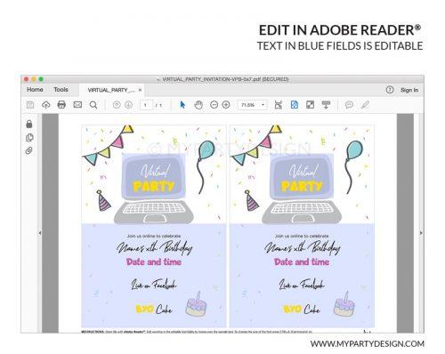 virtual party invitation printable editable invite