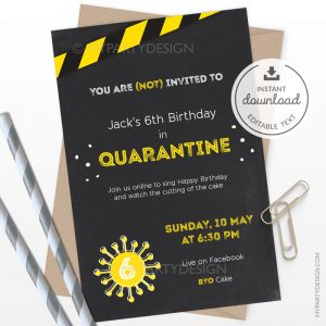 Quarantine Party Invitation, Printable Instant Download with Editable Text