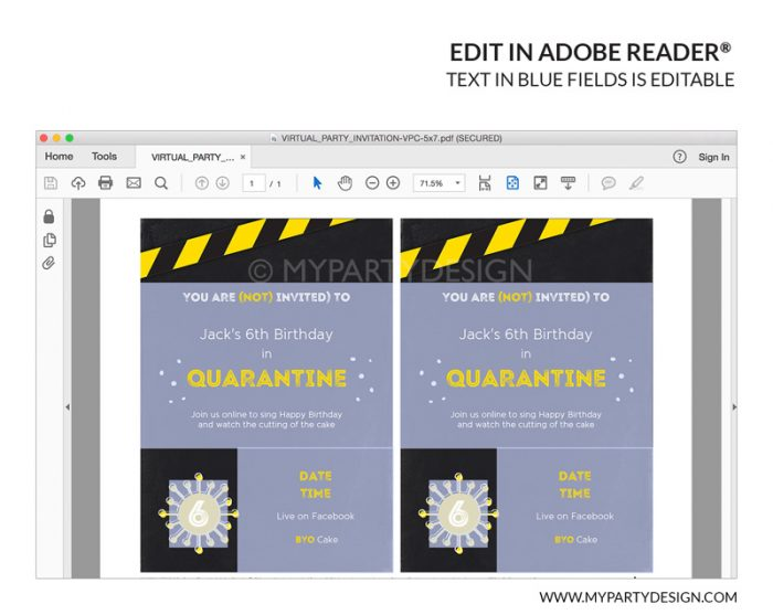 covid19 quarantine party invitation printable