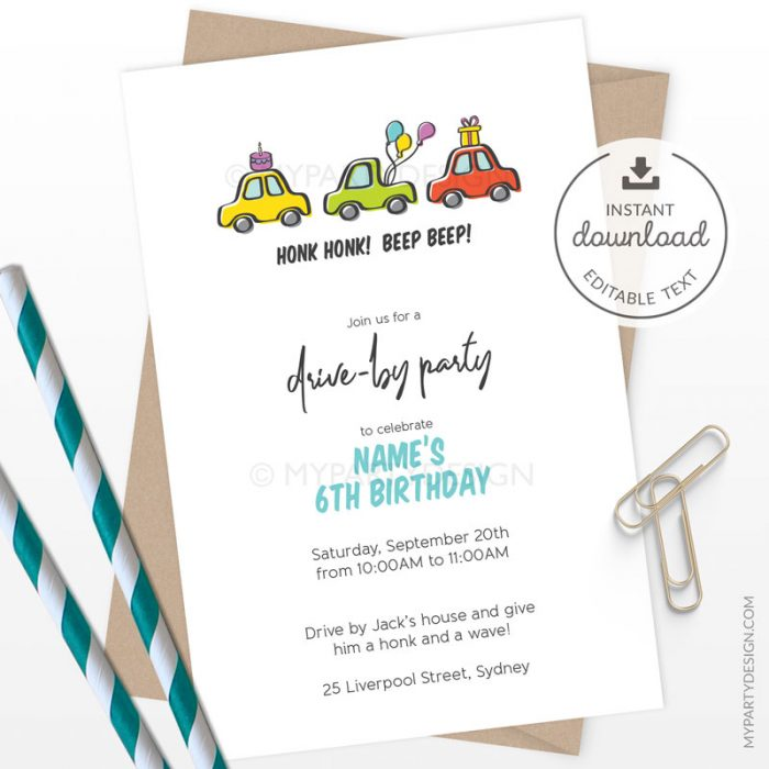 Drive by Party Invitation, Printable Instant Download with Editable Text