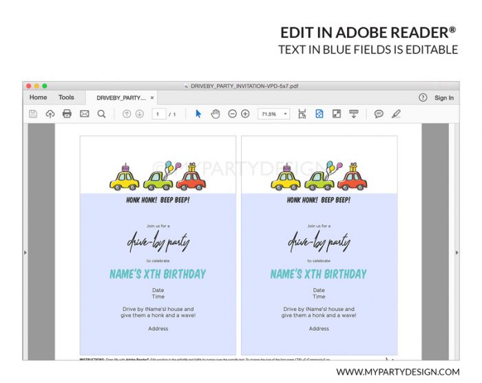 drive by party invitation printable