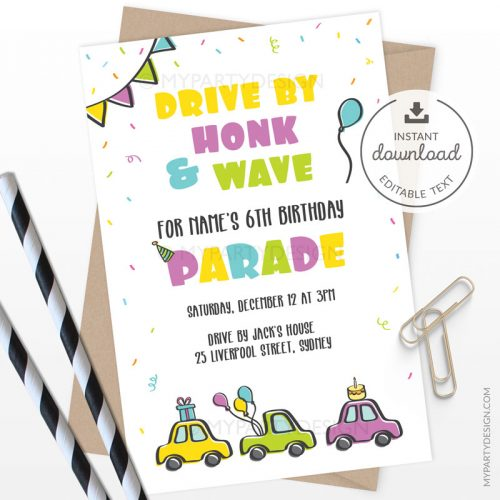 Birthday parade invitation for drive by quarantine party